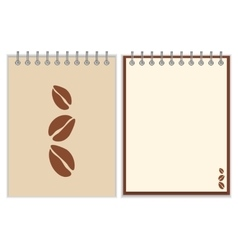 Notebook cover design with coffee beans vector