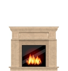 Realistic Marble Fireplace with Fire Isolated vector image