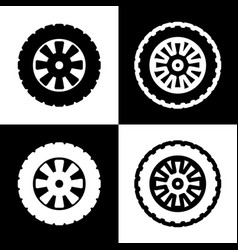 Road tire sign black and white icons and vector