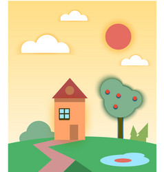 Rural summer landscape with house and tree vector
