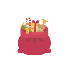 santa claus bag with presents and toys flat icon vector image