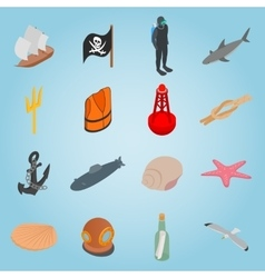 Sea set icons isometric 3d style vector image