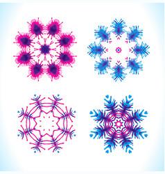 Set of snowflakes fractals vector