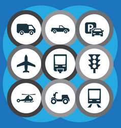 Shipment icons set collection of truck skooter vector