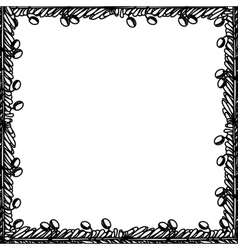 Silhouette border with leaves and fruits vector