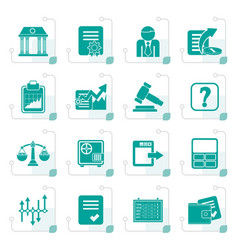 stylized stock exchange and finance icons vector image vector image