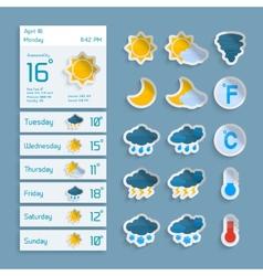 Weather paper widgets set vector