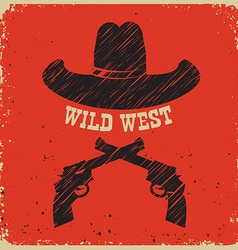 Western poster background with cowboy hat on red vector image