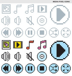 Media pixel icons vector
