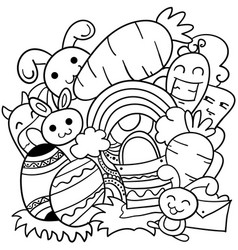 Doodle art of easter theme vector