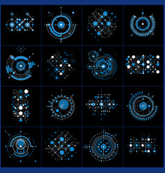 Set of abstract blue backgrounds created in vector