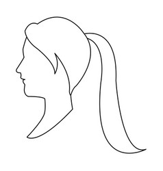 profile head woman with ponytail outline vector image