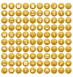 100 disabled healthcare icons set gold vector