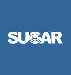 Sugar white death white letters and skull food vector