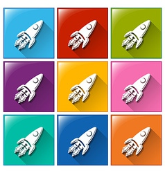 Buttons with rockets vector