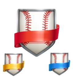 Set of bright shield in the baseball ball inside vector