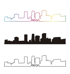 Akron skyline linear style with rainbow vector
