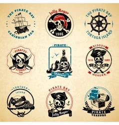 Pirate emblems vintage old paper set vector