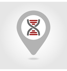 Dna map pin icon vector