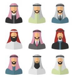 Set arabic men flat icons vector