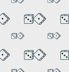 Dices icon sign seamless pattern with geometric vector