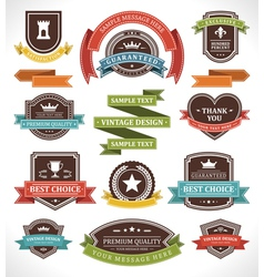 Vintage labels and ribbon vector image