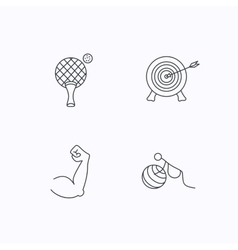 Target table tennis and biceps icons vector