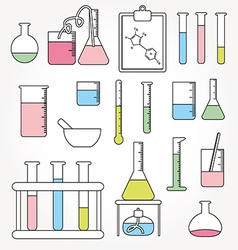Chemical test tubes icons line vector