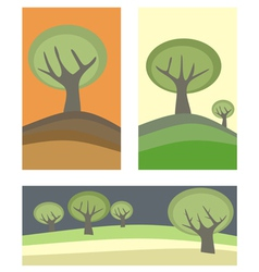 Doodle landscape with trees vector image