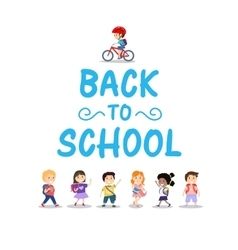 Happy kids on white background back to school vector