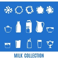 Set of dairy products in flat style vector