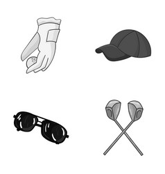 A glove for playing golf with a ball a red cap vector