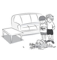 black and white cartoon of two boy playing ball vector image