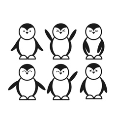 black cute funny penguin set flat icon vector image vector image