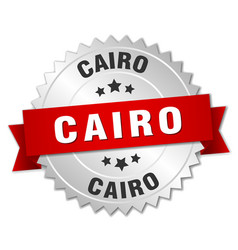 Cairo round silver badge with red ribbon vector