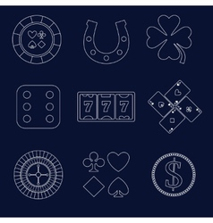 Casino outline design elements vector image