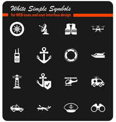 Coast guard icon set vector