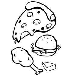 doodles design for different fastfood vector image