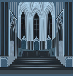 Dramatic view inside church or basilica at night vector