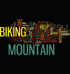 equipment for mountain bikes text background word vector image vector image