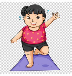 Fat girl doing yoga on mat vector