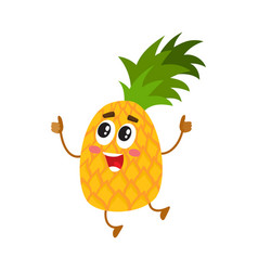 funny pineapple character jumping and showing vector image vector image