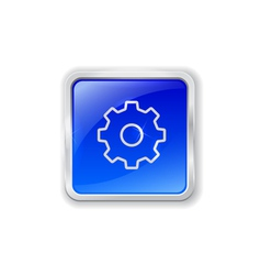 Gear icon on blue button vector image vector image