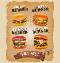 grunge and vintage burger menu vector image
