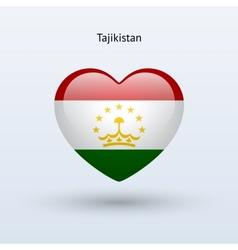Love Tajikistan symbol Heart flag icon vector image vector image