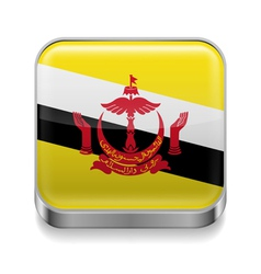 Metal icon of Brunei vector image vector image