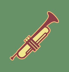 musical instrument trumpet sign cordovan vector image vector image