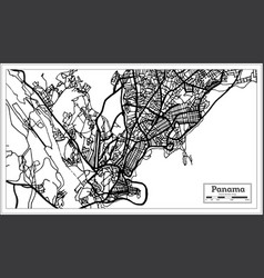 Panama city map in black and white color vector