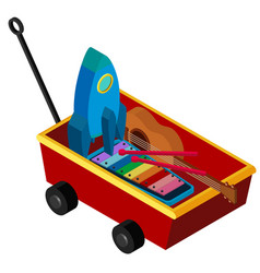 Red wagon with many toys vector