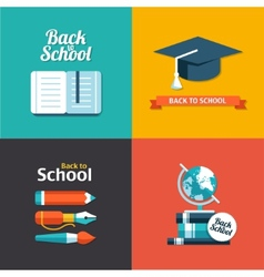 School flat design flyers templates vector